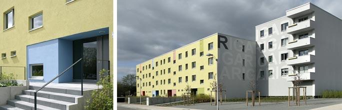 Um- und Rückbau WBS 70 in Greifswald - barrierefreies Wohnen: Außenansicht nach Umbau - Eingänge