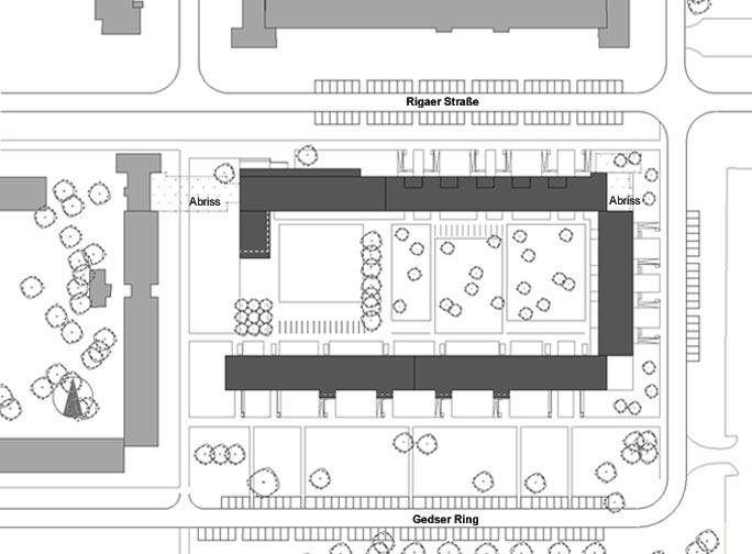Um- und Rückbau WBS 70 in Greifswald - barrierefreies Wohnen: Lageplan Quartier C4