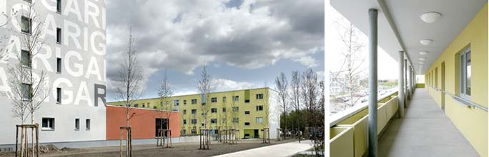 Um- und Rückbau Wohnen mit Service / Betreutes Wohnen: Giebelansicht und Laubengang