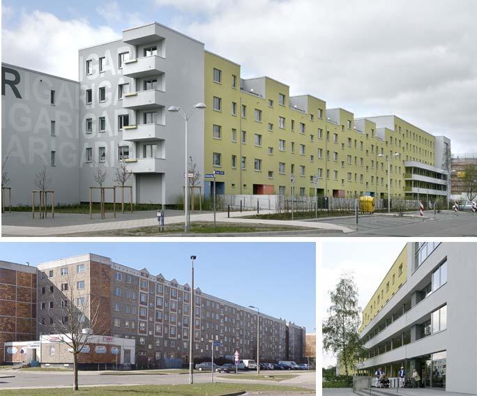 Um- und Rückbau Wohnen mit Service / Betreutes Wohnen: Straßenansicht nach und vor dem Umbau