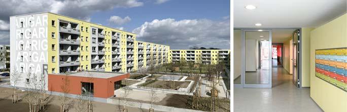 Um- und Rückbau Wohnen mit Service / Betreutes Wohnen: Außenansicht Hof und Innenansicht Eingangsbereich