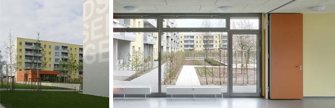 Um- und Rückbau Wohnen mit Service / Betreutes Wohnen: Außenansicht Clubraum und Blick aus dem Clubraum in den Hof