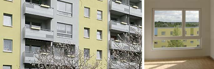 Um- und Rückbau Wohnen mit Service / Betreutes Wohnen: Detailausschnitt Hoffassade und Blick aus dem Küchenfenster in den Hof
