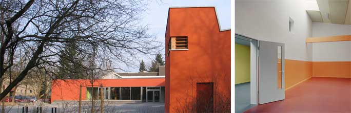 Familienzentrum und Kindertagesstätte Marienfelde: Vorplatz mit Blick auf den Eingang und Detail Bewegungsraum