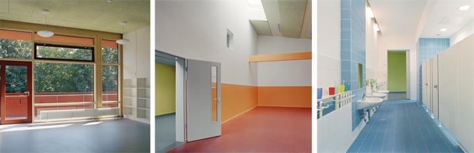 Familienzentrum und Kindertagesstätte Marienfelde: Innenraumfotos Gruppen-, Bewegungs- und Sanitärraum