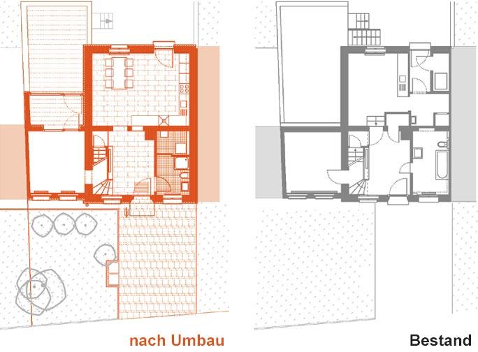 Modernisierung Pfarrhaus: Grundriss EG nach und vor dem Umbau