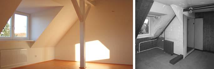 Modernisierung Pfarrhaus: Dachgeschoss nach Umbau und im Bestand