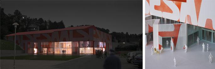 Umbau Supermarkt zum Dorfgemeinschaftshaus: Nachtansicht und Detail Eingang