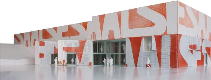 Umbau Supermarkt zum Dorfgemeinschaftshaus: Außenansicht Modell M1:50¬¬