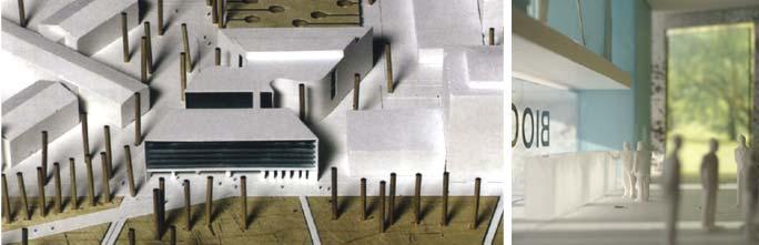 Laborgebäude Bioquant: Umgebungsmodell und Ansicht von Innen