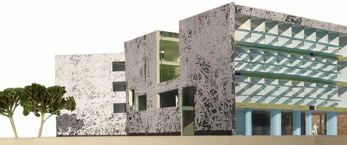 Laborgebäude Bioquant: Modell Straßenansicht