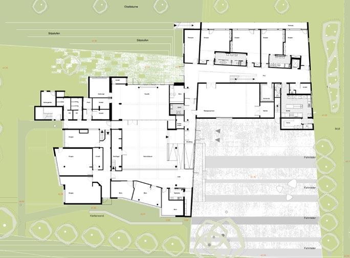 Familienzentrum und Kindertagesstätte Marienfelde: Lageplan mit Grundriss Erdgeschoss