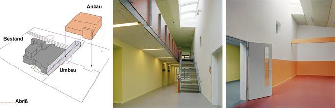 Familienzentrum und Kindertagesstätte Marienfelde: Konzeptlogo, Innenraumfotos Gruppen- und Bewegungsraum