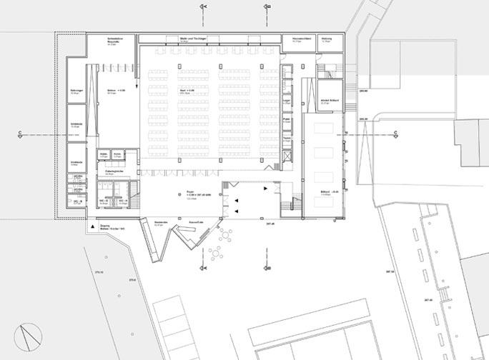 Umbau Supermarkt zum Dorfgemeinschaftshaus: Lageplan mit Grundriss Erdgeschoss