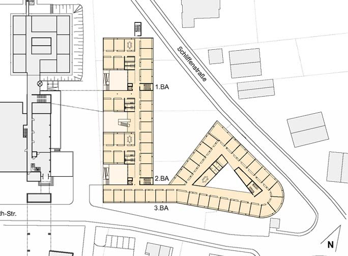 Erweiterung Hauptverwaltung Würth: Lageplan mit Grundriss Erdgeschoss